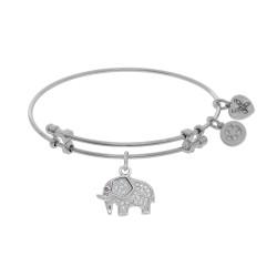 Brass with White Elephant Charm with White Cz On W Hite Bangle