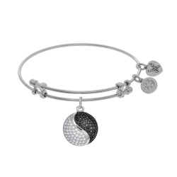 Brass with Black+White Yin-Yang Charm On White Angelica Bangle