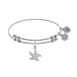 Brass with White Starfish Charm with White Cz On W Hite Bangle
