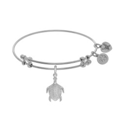 Brass with White Turtle Charm with White Cz On Whi Te Bangle