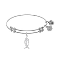 Brass with White Christian Fish Charm with White C Z On White Bangle