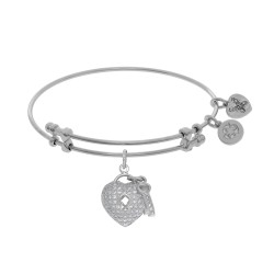 Brass with White Heart-Key Charm with White Cz On White Bangle