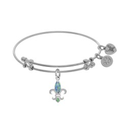 Brass with White Fleur De Lis Charm with Created Opal On White Bangle