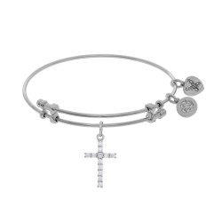 Brass with White Cross Charm with White Cz On Whi Te Bangle