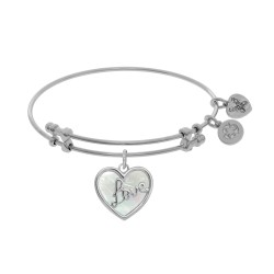 "Brass with White ""Love"" Heart Charm with Created Mother Of Pearl On White Bangle"