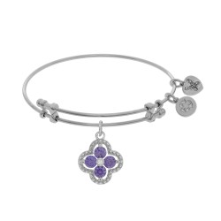 Brass with White Charm with Purple+White Cz On White Bangle