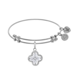 Brass with White Charm with Clear+Center White Cz On White Bangle