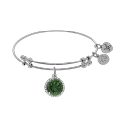 Brass with White May Birthstone On White Angelica Bangle