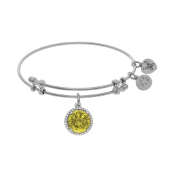 Brass with November Bithstone On White Angelica Bangle