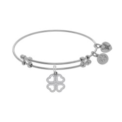 Brass with White Heart Clover Charm with White Cz On White Bangle