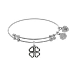 Brass with White Heart Clover Charm with Black Cz On White Bangle
