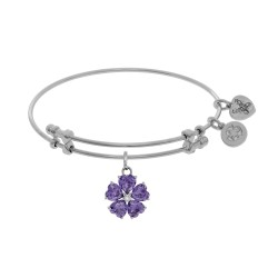 Brass with White 5-Heart Flower Charm with Purple Le+Small Center White Cz On White Bangle