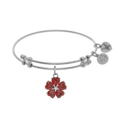 Brass with White 5-Heart Flower Charm with Red Small Center White Cz On White Bangle