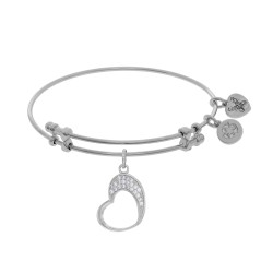 Brass with White Open Graduated Heart Charm with W Hite Cz On White Bangle