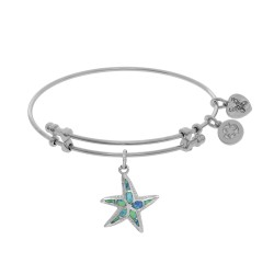Brass with White Created Opal Starfish Charm On Wh Ite Bangle