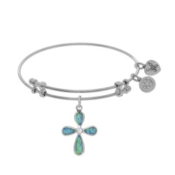 Brass with White Created Opal Cross Charm On White Bangle