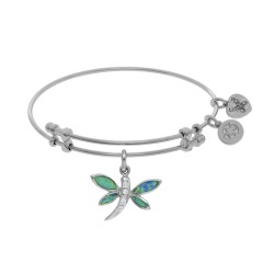 Brass with White Created Opal Dragonfly Charm On W Hite Bangle