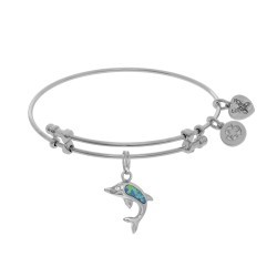 Brass with White Created Opal Single Dolphin Charm On White Bangle