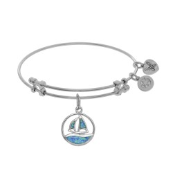 Brass with White Created Opal Sail Boat Charm On W Hite Bangle