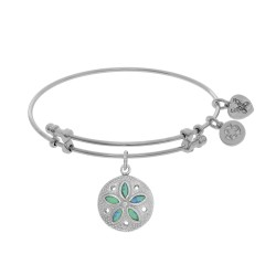 Brass with White Created Opal Sand Dollar Charm On White Bangle
