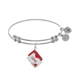 Brass with White Red+White Enamel Love Letter with Heart+Arrow Charm On White Bangle