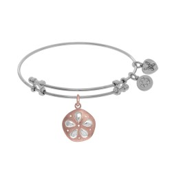 Brass with Pink+White Finish Charm On White Angelica Bangle Sanddollar