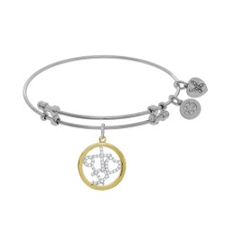 Brass with Yellow+White Finish Faith+Hope+Charity with Cz On White Angelica Bangle
