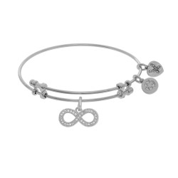 Brass with White Finish Charm with White Cz Infinity On White Angelica Bangle