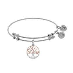 Brass with Pink+White Finish Tree Of Life Charm On White Angelica Bangle