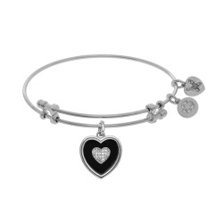 Brass with White Finish Charm Black Onyx with Cz Heart On White Angelica Bangle