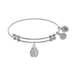Brass with White Finish Charm with White Cz Ladybu G On White Angelica Bangle