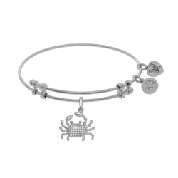Brass with White Finish Crab Charm with White Cz N White Angelica Bangle