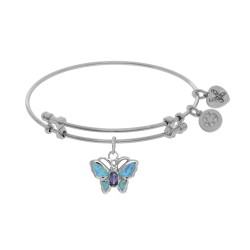 Brass with White Finish Charm with Created Opal Butterfly On White Angelica Bangle