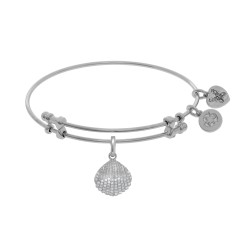Brass with White Finish Charm with White Cz Sea Shell On White Angelica Bangle