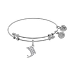 Brass with White Finish Charm with White Cz Single Dolphin On White Angelica Bangle