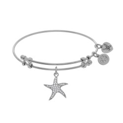 Brass with White Finish Charm with White Cz Starfi Sh On White Angelica Bangle