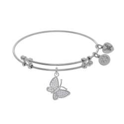 Brass with White Finish Charm with White Cz Closed Butterfly On White Angelica Bangle