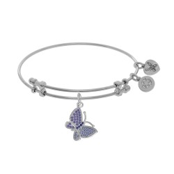 Brass with White Finish Charm with Purple Cz Butterfly On White Angelica Bangle