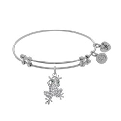 Brass with White Finish Frog Charm with White Cz On White Angelica Bangle