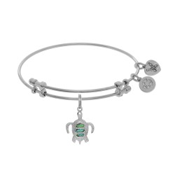 Brass with White Finish Charm with Created Opal Turtle On White Angelica Bangle