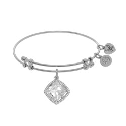 Brass with White Finish Charm with White Cz On White Angelica Bangle