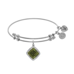 Brass with White Finish Charm with Green+Small White Cz On White Angelica Bangle