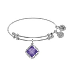 Brass with White Finish Charm with Purple+Small White Cubic Zirconia On White Angelica Bangle