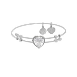 Brass with White Finish Heart Charm with White Cz On White Angelica Bangle