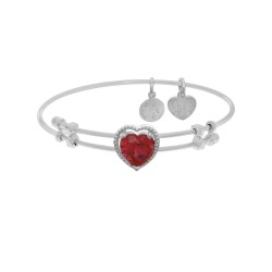 Brass with White Finish Heart Charm with Red Cz On White Angelica Bangle