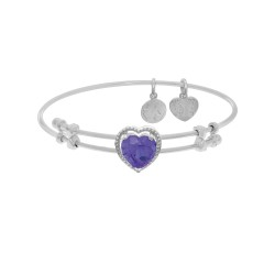 Brass with White Finish Heart Charm with Purple Cubic Zirconia On White Angelica Bangle