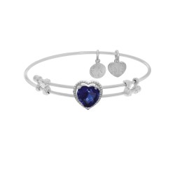 Brass with White Finish Heart Charm with Dark Blue Ic Zirconia On White Angelica Bangle