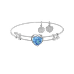 Brass with White Finish Heart Charm with Lite Blue Cz On White Angelica Bangle