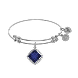 Brass with White Finish Charm with Dark Blue Cz On White Angelica Bangle