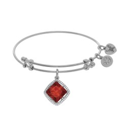 Brass with White Finish Charm with Red Cz On White Angelica Bangle